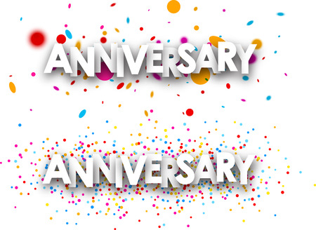 color drops: Anniversary paper banners with color drops. Vector illustration.