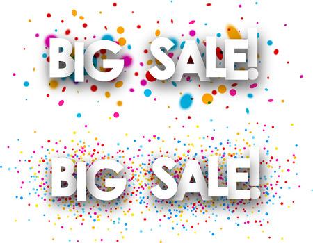 discount store: White big sale paper bannes with color drops. Vector illustration. Illustration