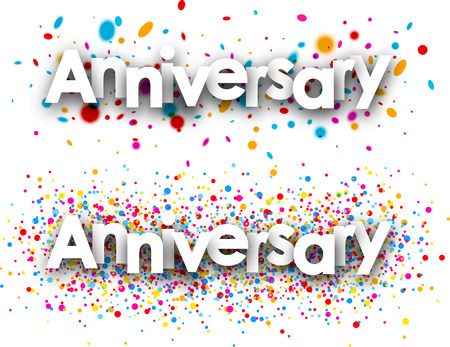 color drops: Anniversary paper banners set with color drops. Vector illustration. Illustration