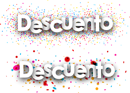 color drops: Discount paper banners with color drops, Spanish. Vector illustration. Illustration