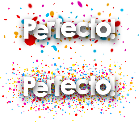 Perfect paper banners set with color drops, Spanish. Vector illustration.