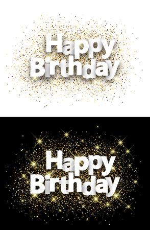 Alles Gute zum Geburtstag Hintergrund mit leuchtenden Sand. Vektor-Papier-Illustration.