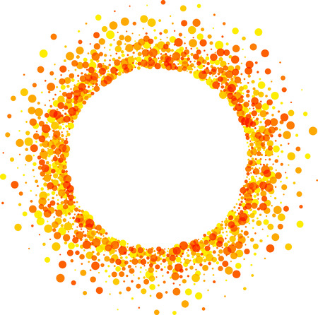 Paper round white background with orange drops. Vector illustration.  イラスト・ベクター素材