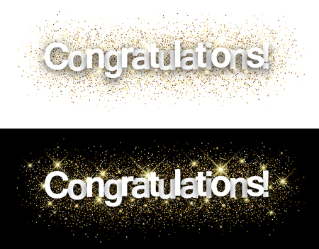 congratulations text: Congratulations paper banners set with shining sand. Vector illustration.