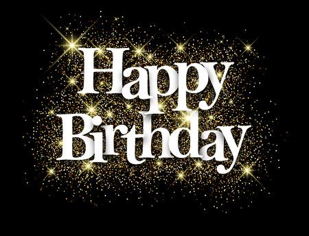 Happy birthday zwarte achtergrond met glanzende zand. Vector papier illustratie.