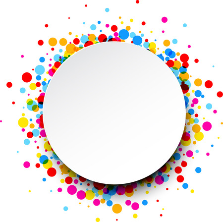 color drops: Paper round white card with color drops. Vector illustration.