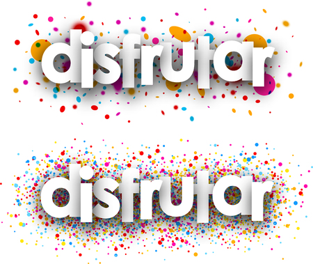 color drops: Enjoy paper banners with color drops, Spanish. Vector illustration. Illustration