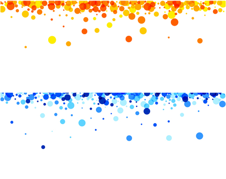 yellow orange: White paper banners with blue and orange drops. Vector illustration.