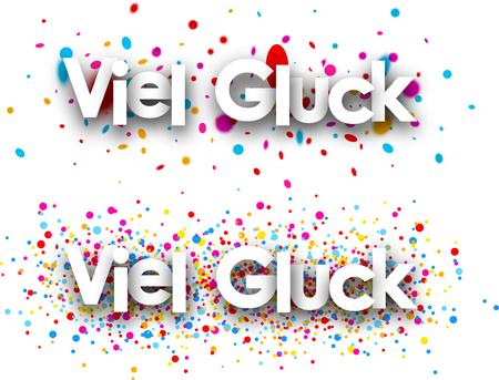 Good luck papier banners met kleur druppels, Duits. Vector illustratie. Vector Illustratie