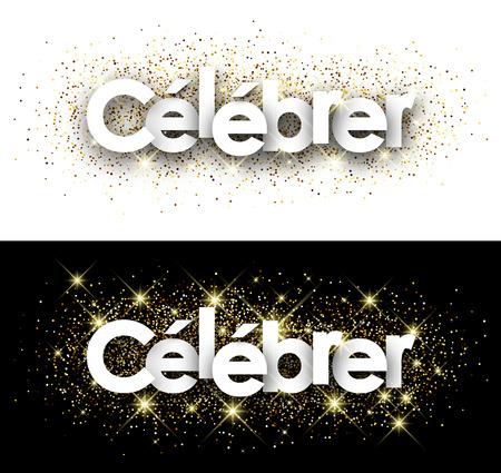 mirth: Celebrate paper banner with shining sand, French. Vector illustration.
