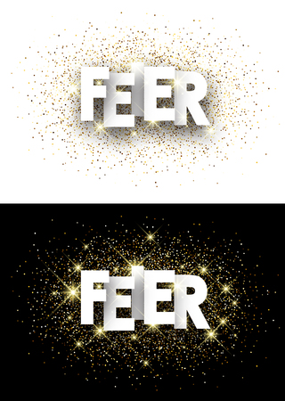 mirth: Celebration paper banner with shining sand, German. Vector illustration. Illustration