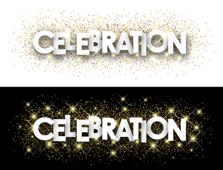mirth: Celebration paper banner with shining sand. Vector illustration.