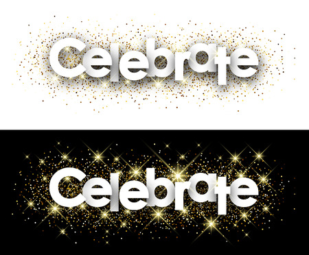 celebrate: Celebrate paper banner with shining sand. Vector illustration.