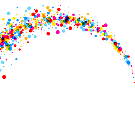 White paper background with arc of color drops. Vector illustration.