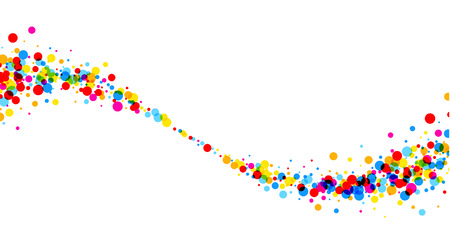 white wave: White paper background with wave of color drops. Vector illustration.