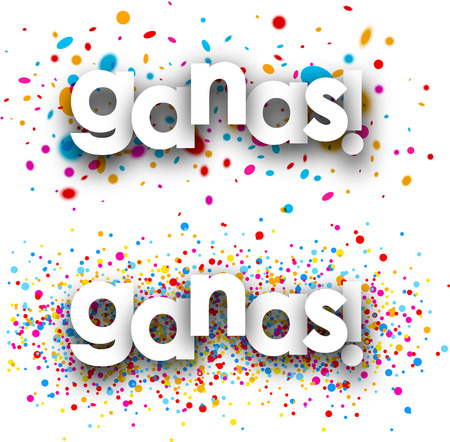 excite: You win paper banners with color drops, Spanish. Vector illustration. Illustration