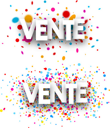 color drops: Sale paper white banners with color drops, French. Vector illustration.