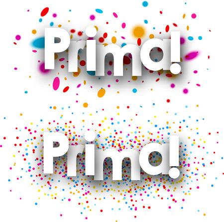 gratuity: Bonus paper banners set with color drops, Spanish. Vector illustration. Illustration