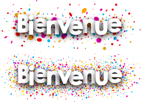 color drops: Welcome white paper banners with color drops, French. Vector illustration. Illustration