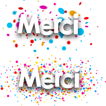 color drops: Thanks paper banners set with color drops, French. Vector illustration.