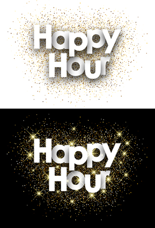 retail sales: Happy hour paper card with shining sand. Vector illustration. Illustration