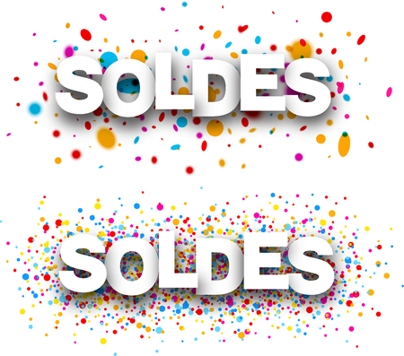 happy shopper: Sale paper white banners with color drops, French. Vector illustration.