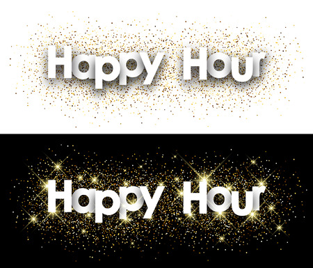 Happy hour paper banner with shining sand. Vector illustration.