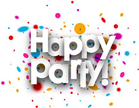 fete: Happy party paper card with color drops. Vector illustration.