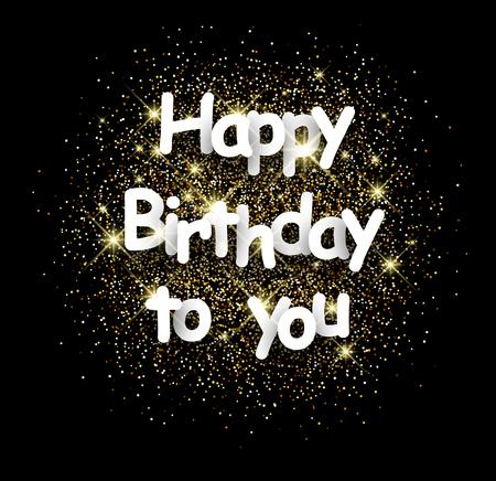you black: Cumpleaños de la tarjeta de negro brillante con arena. Ilustración del vector.
