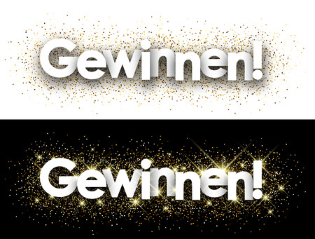 excite: Win paper banner with shining sand, German. Vector illustration.