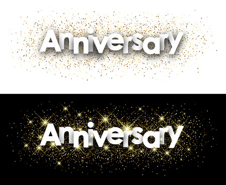 shining: Anniversary paper banners with shining sand. Vector illustration.