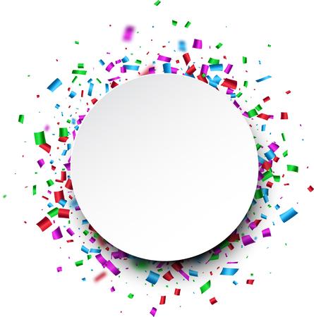 fete: White round background with color confetti. Vector paper illustration.