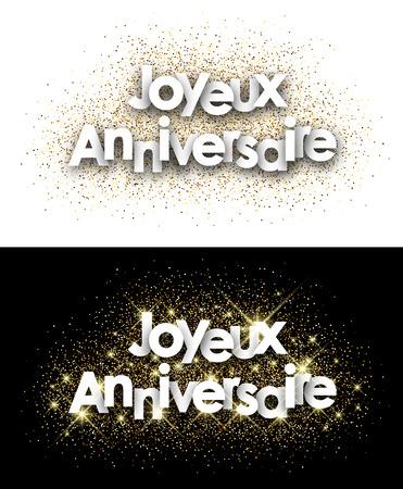Alles Gute zum Geburtstag Papierkarten mit leuchtenden Sand, Französisch eingestellt. Vektor-Illustration.