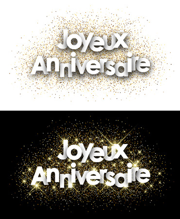 texts: Happy birthday paper cards set with shining sand, French. Vector illustration. Illustration