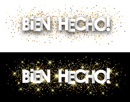 well done: Well done paper banner with shining sand, Spanish. Vector illustration.