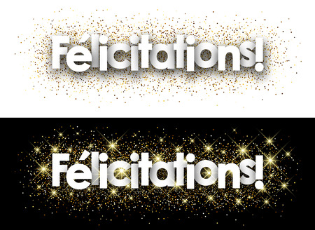 Congratulations paper banner with shining sand, French. Vector illustration. 일러스트