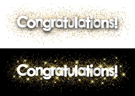 Congratulations paper banner with shining sand. Vector illustration.
