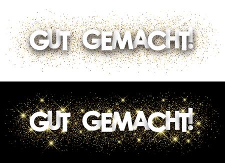 Goed gedaan papier banner met glanzende zand, Duits. Vector illustratie.