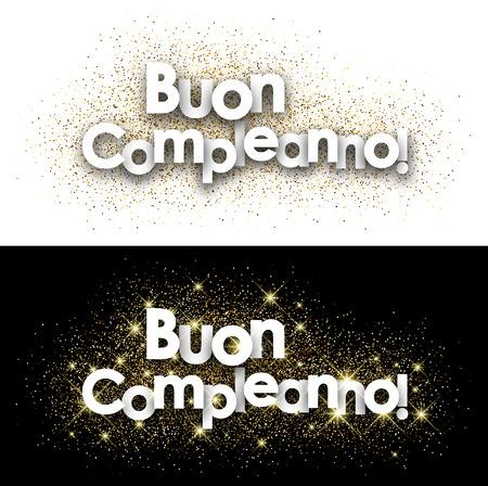 Happy birthday paper cards set with shining sand, Italian. Vector illustration.
