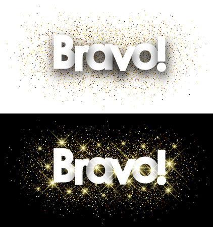 acclaim: Bravo paper banners set with shining sand. Vector illustration.