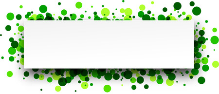 green paper: White paper banner with green confetti. Vector illustration.