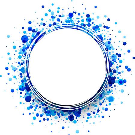 splash de agua: Papel de fondo redondo blanco con gotas azules. Ilustración del vector. Vectores