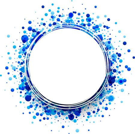 Paper round white background with blue drops. Vector illustration. Illustration