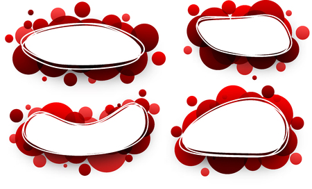 elliptic: Paper oval white backgrounds set with red bubbles. Vector illustration.