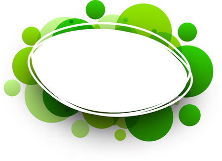 elliptic: Paper oval white abstract background with green bubbles. Vector illustration. Illustration