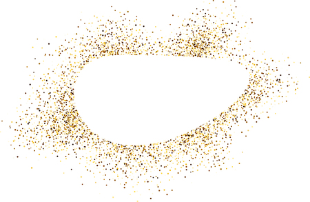 gold coast: White oval background with sand. Vector paper illustration. Illustration