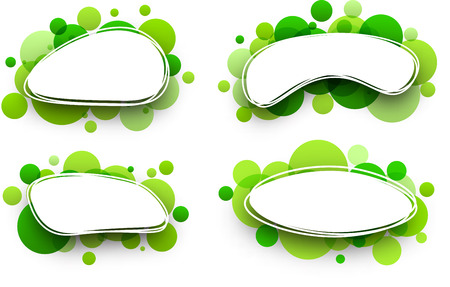 green paper: Paper oval white backgrounds set with green bubbles. Vector illustration.