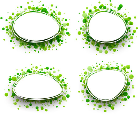 green paper: Paper oval white backgrounds set with green drops. Vector illustration. Illustration