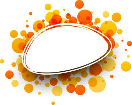 elliptic: Paper oval white background with orange drops. Vector illustration. Illustration