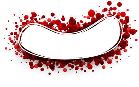 elliptic: Paper oval white background with red drops. Vector illustration. Illustration